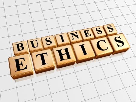 scruple: business ethics - text in 3d golden cubes with black letters, business concept words