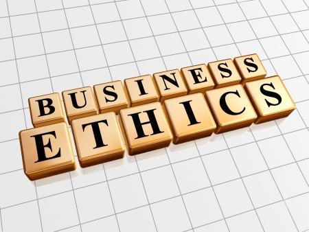 etica: ética en los negocios - el texto en 3d cubos de oro negro con las letras, palabras concepto de negocio