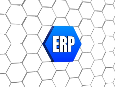 ERP, enterprise resource planning systems - 3d letters over blue hexagon in cellular structure, business concept sign photo