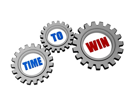 fulfil: time for win - text in 3d silver grey gearwheels, business concept words