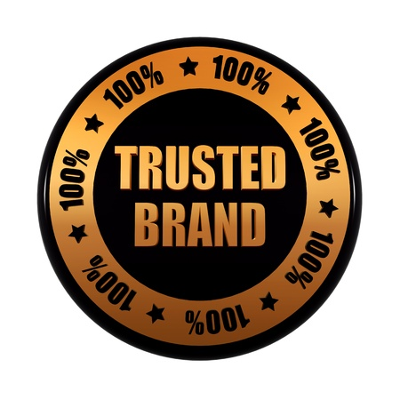 trusted: trusted brand 100 percentages - text in 3d golden black circle label with stars, business concept
