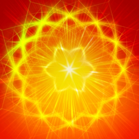 abstract yellow star with shining light rays like mandala form Stock Photo - 21997105