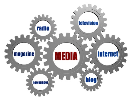 tv network: media, internet, blog, newspaper, magazine, radio, television - words in 3d silver grey gearwheels, technology and communication concept