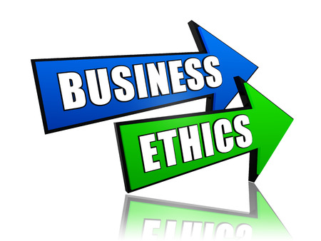 scruple: business ethics - text in 3d color arrows, business concept words