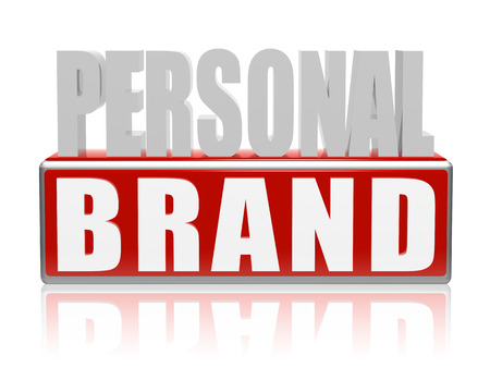 personal brand - text in 3d blue white banner, letters and block, business concept