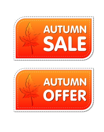 autumn sale and offer - orange labels with text and fall leaf, business concept photo