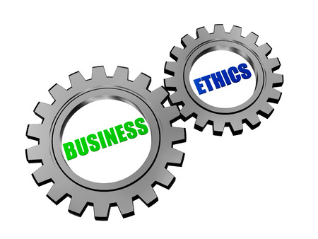 scruple: business ethics - text in 3d silver grey gearwheels, business concept words