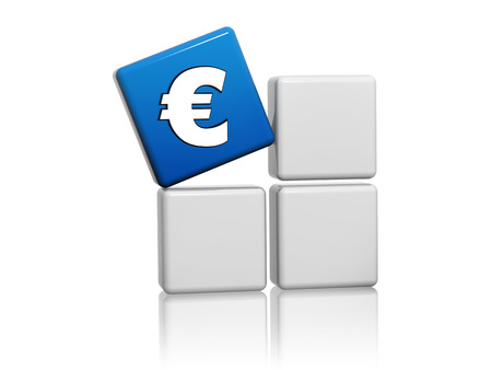 Euro Sign 3d Blue Cube With European Money Symbol On Grey Boxes