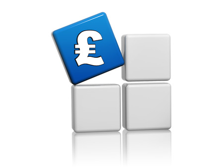 moneymaker: pound sign - 3d blue cube with British money symbol on grey boxes, business finance concept