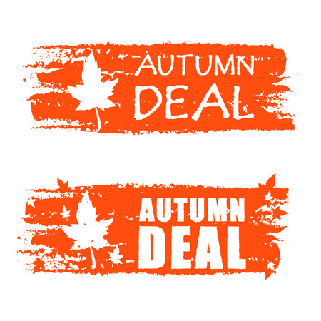autumn deal - orange drawn banners with text and fall leaf, business concept photo
