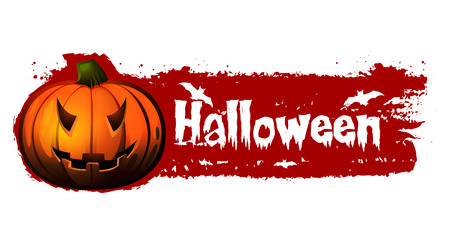 halloween banner - blood red illustration with text, drawn pumpkin and bats