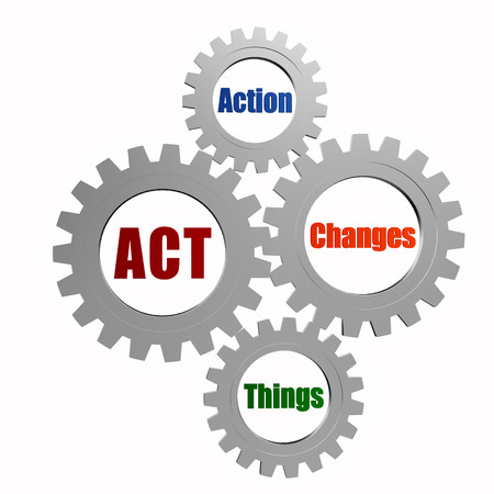fulfil: act, action, changes, things - text in 3d silver grey gearwheels, business motivate concept words