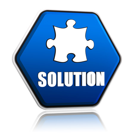 solution and puzzle sign in 3d blue hexagon button with white text and symbol, business concept banner photo