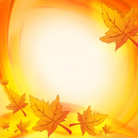 ocher: background with illustrated autumn leaves with abstract circles frame with text space Stock Photo