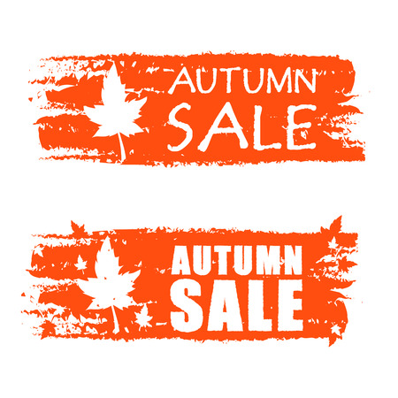 autumn sale - orange drawn banners with text and fall leaf, business concept