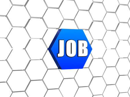 careerist: job - text on 3d blue hexagon button in cellular structure, business career concept word Stock Photo
