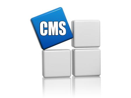 CMS, 콘텐츠 관리 시스템 - 회색 상자에 편지와 함께 3D 블루 큐브, 인터넷 개념