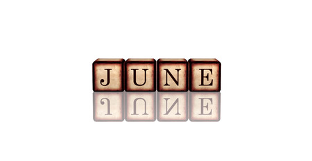 six year old: month june - text in 3d retro wooden cubes with letters and reflection, calendar concept element
