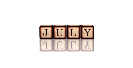 summerly: month july - text in 3d retro wooden cubes with letters and reflection, calendar concept element Stock Photo