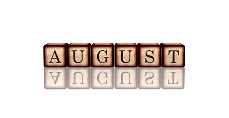 summerly: month august - text in 3d retro wooden cubes with letters and reflection, calendar concept element