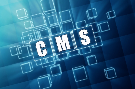 management system: CMS, content management system - text in 3d blue glass cubes with white letters, internet concept