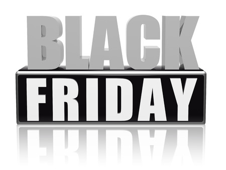 black friday - text in 3d black grey white banner, letters and block, business holiday concept photo