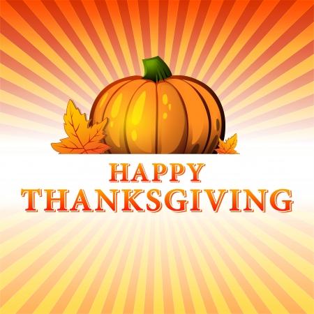 thanksgiving day symbol: astratto autunno illustrazione con testo Happy Thanksgiving, zucca disegnata e caduta di foglie sul giallo arancione raggi gradiente rosso