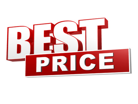 best price - text in 3d red white banner, letters and block, business concept Banco de Imagens