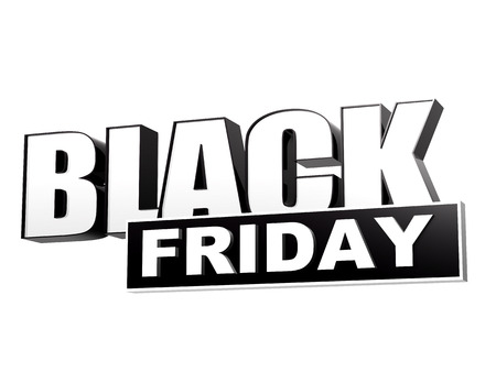 black friday - text in 3d black white banner, letters and block, business holiday concept Standard-Bild