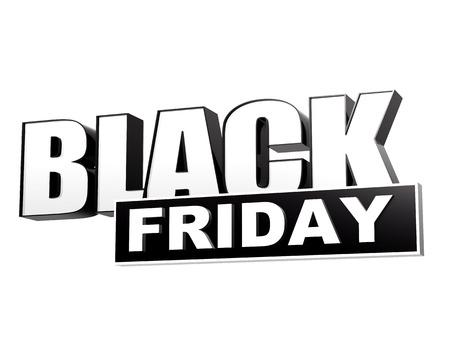 vendredi noir - texte en noir 3d bannière blanche, lettres et bloc, le concept de vacances d'affaires Banque d'images