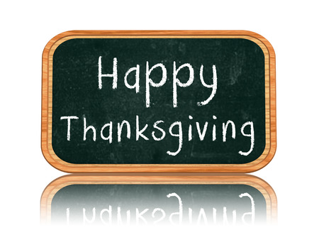 happy thanksgiving day - 3d isolated blackboard banner with chalk text, holiday concept photo