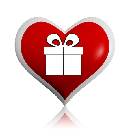 present box symbol - button, 3d red heart banner with text and gift sign, holiday concept photo