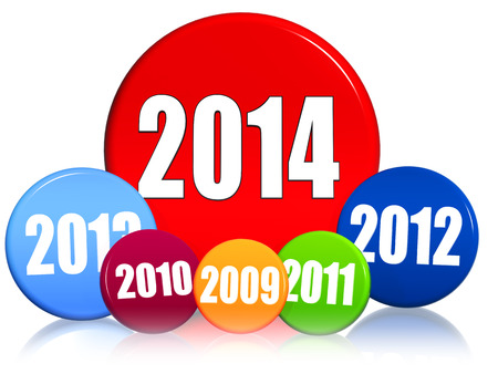 former years: new year 2014 and previous years in 3d colored circles with figures, business concept Stock Photo