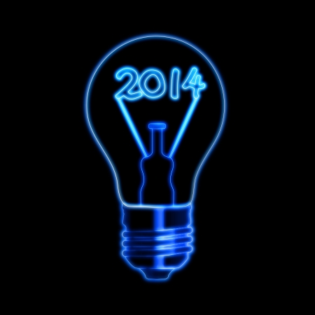 new year 2014 in bulb with glowing filament ciphers over black