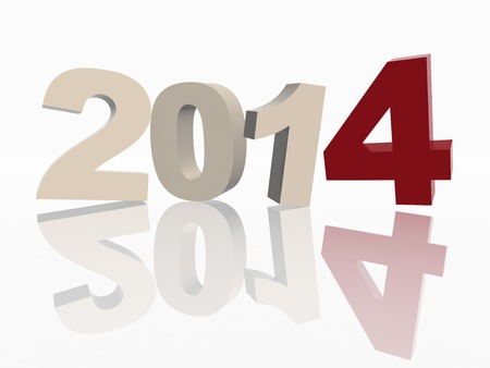 new year 2014 of 3d color ciphers with reflection over white background Stock Photo - 23893613