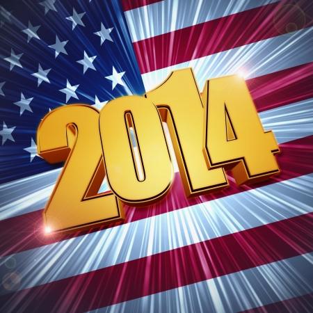 nouvelle année 2014 - 3d chiffres d'or avec des rayons et brillant drapeau américain