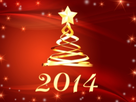 twelfth night: new year 2014 and golden christmas tree over red with stars