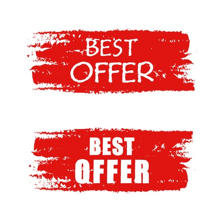 best offer - text on red drawn banner, business concept photo