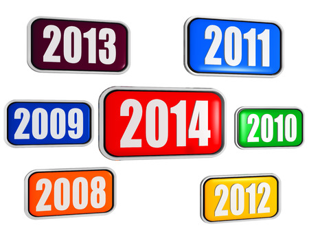new year 2014 and previous years in 3d colored banners with figures, business concept photo