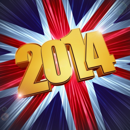 twelfth night: new year 2014 - 3d golden figures with rays and shining United Kingdom flag, Union Jack
