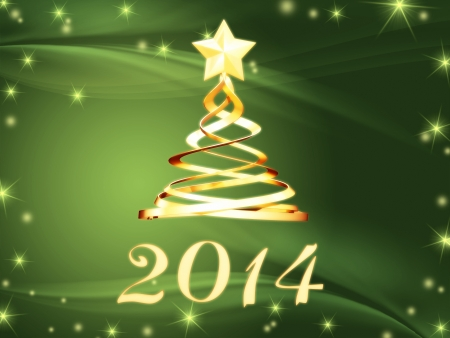 twelfth night: new year 2014 and golden christmas tree over green with stars