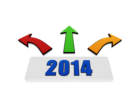new year 2014 on 3d white block with red, green and yellow arrows in divergent directions Stock Photo - 23893628