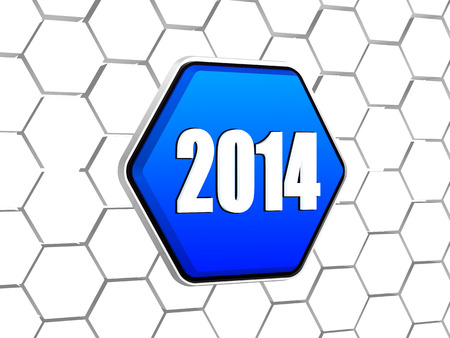 new year 2014 - white ciphers on 3d blue hexagon button in cellular structure photo