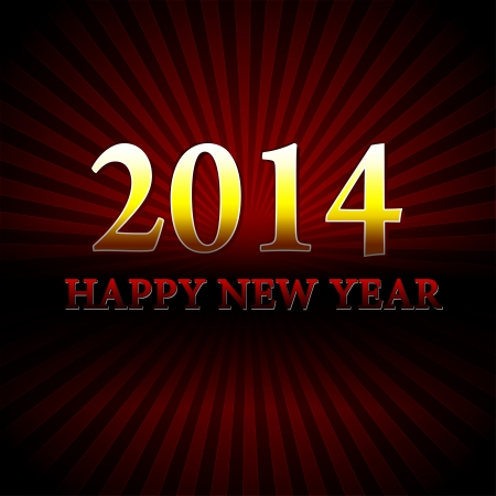 golden happy new year 2014 over red rays Stock Photo - 23995330