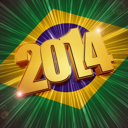 newcomer: new year 2014 - 3d golden figures with rays and shining Brazilian flag