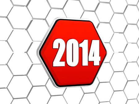 new year 2014 - white ciphers on 3d red hexagon button in cellular structure Stock Photo - 24000346