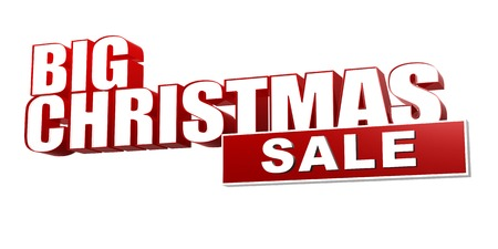 selling off: big christmas sale in 3d red letters and block over white background, business holiday concept Stock Photo