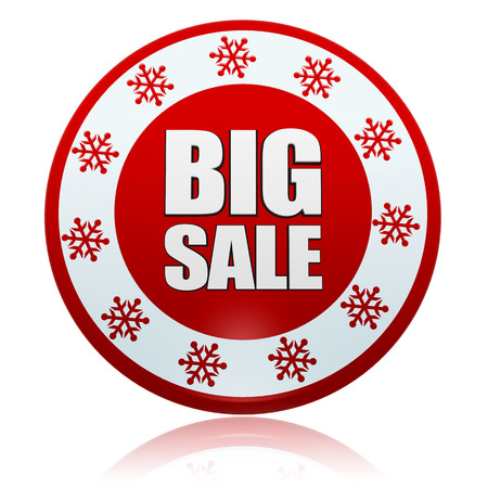 bargain: christmas big sale - 3d red circle banner with white text and snowflakes symbols, business holiday concept