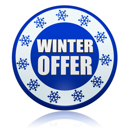 winter offer - 3d blue circle banner with white text and snowflakes symbols, business seasonal concept photo
