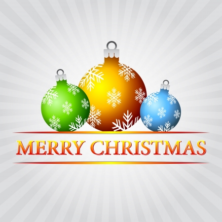 twelfth night: merry christmas - text with colorful christmas balls with snowflakes signs over silver grey rays